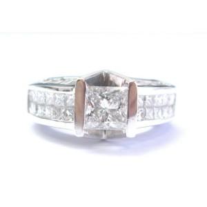 Platinum Princess & Baguette Diamond Tension Setting Engagement Ring 4.29CT GIA