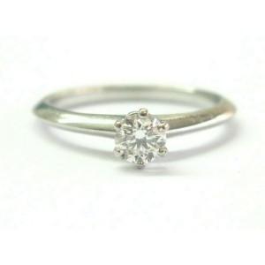 Tiffany & Co Platinum Round Cut Diamond Solitaire Engagement Ring .31CT H-VS2