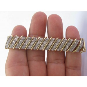 "Natural Round Cut Diamond Yellow Gold WIDE Tennis Bracelet 5.00Ct 7"" 15.4mm 14KT"