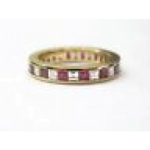 Tiffany & Co Ruby & Diamond Eternity Band 18Kt Yellow Gold 1.40CT Size 5