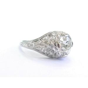 Platinum Natural Old European Diamond Milgrain Engagement Ring 1.81Ct