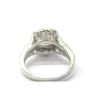 Natural Cushion & Round Cut Diamond White Gold Split Shank Engagement Ring F-VS2