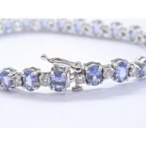 "Natural Tanzanite & Diamond Tennis Bracelet 14Kt White Gold 14.25Ct 7"""