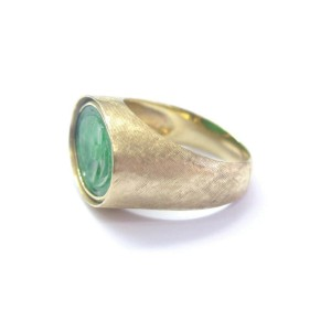Fine Carved Jade Yellow Gold Jewelry Ring 14Kt 12mm x 17mm