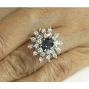 Blue Sapphire & Diamond Cluster Ring 14Kt White Gold 2.00Ct