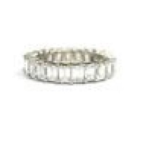 NATURAL Emerald Cut Diamond Shared Prong Eternity Band Ring WG 5.25CT Size 6