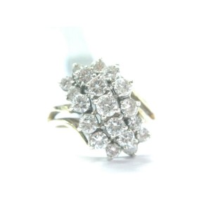 Fine Round Cut Diamond Cluster Yellow Gold Jewelry Ring 1.50CT