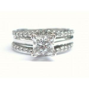 Fine Princess & Round Cut Diamond Engagement Set White Gold 1.13CT