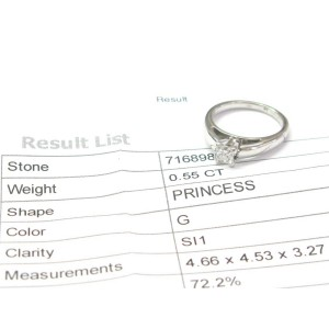 Princess Cut Diamond Solitaire White Gold Engagement Ring .55CT G-SI1 EGL USA