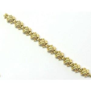 "Tiffany & Co 18kt Signature X Yellow Gold Bracelet 81.6 Grams 7"" 15mm"