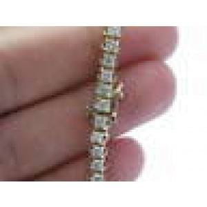 NATURAL Round Cut Diamond Tennis Bracelet 4-Prong Yellow Gold 49-Stones 4.13Ct