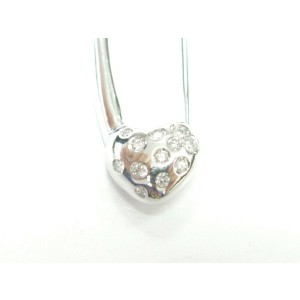 Aaron Basha 18Kt Baby Heart Diamond White Gold Pin/Brooch .16Ct
