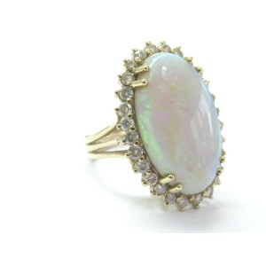 Fine Opal Diamond Solitaire W Accent Yellow Gold Ring 6.34Ct