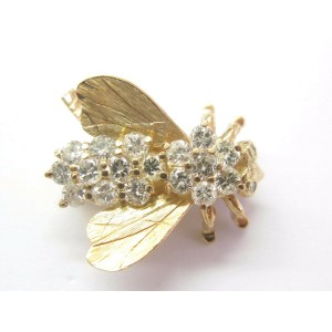 """Bee Diamond Solid 14KT Yellow Gold Pin / Brooch H/VS2-SI2 1"""" x 1"""" 2.02Ct"""