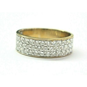 Natural Round Diamond 3-Row Pave Band Ring 14Kt Yellow Gold 1.00Ct F-VS2