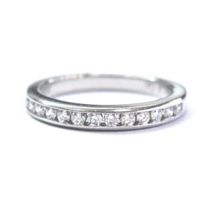 Tiffany & Co Platinum Channel Set Diamond 2.7mm Wedding Band Ring Size 4.5