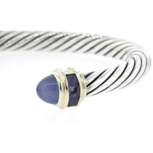 David Yurman Cuff Bracelet Chalcedony Iolite Sterling Silver 14k Gold Cable L