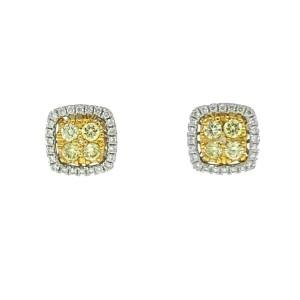 Effy Canare 18k Two tone Diamond Halo Yellow Diamond Stud Earrings Apprx .51ctw