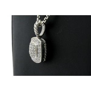 David Yurman Diamond Necklace Pendant Pave Petite Albion Sterling Silver 7mm