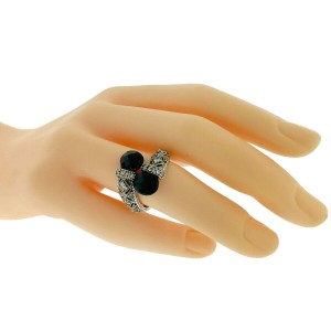 Judith Ripka Sterling Silver Black Stone With cz Crossover Ring