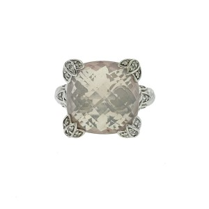 Judith Ripka Sterling Silver Light pink stone with Czs Ring