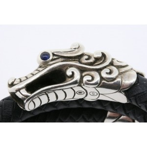 John Hardy Naga Double Coin Bracelet Dragon Leather $650 Sterling Silver