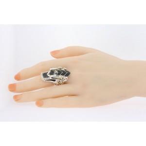 John Hardy Ring Legends Naga Ring Black Sapphire Sterling Silver $1450 size 7