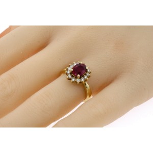 Effy BH Oval 1.50ct Ruby Halo Diamond Ring 14k Yellow Gold size 5.75