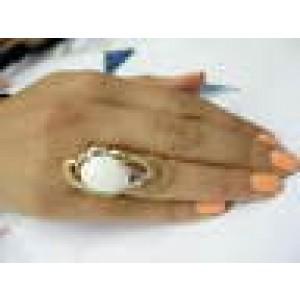 NATURAL Coral & Diamond Ring 18KT Yellow Gold 8.60CT