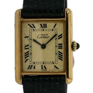 Cartier Tank Vermeil Unisex Hand Winding 925 Gold Plated Watch 24mm