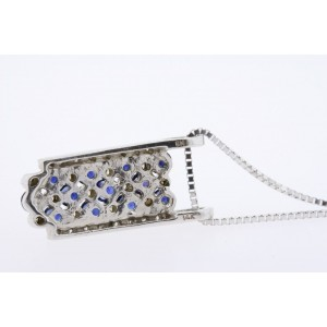 Effy BH Sapphire Diamond Pendant Necklace Rectangle 14k White Gold