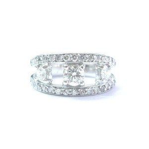 Platinum Round Diamond Three Stone WIDE Band Ring 9.7mm 1.19Ct SIZEABLE