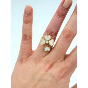 Van Cleef & Arpels VCA Ring Sweet Alhambra Effeuillage MOP Diamond 18k Gold 5.5