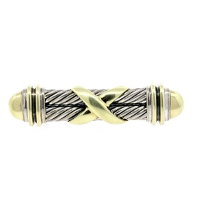 David Yurman Pin Brooch X Crossover Double Cable Sterling Silver 14k Gold Rare