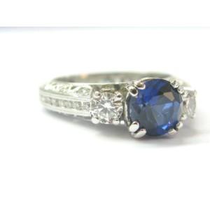 Platinum Natural Tanzanite & Diamond Milgrain Three-Stone Ring 3.70Ct AAAA/VS