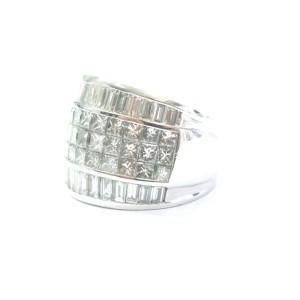 Princess & Baguette NATURAL Diamond Ring Multi Shape WIDE 18KT White Gold 5.50Ct