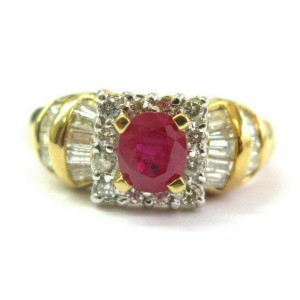 18Kt Oval Ruby & Diamond Ring Yellow Gold 1.67Ct SIZEABLE