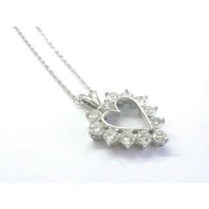 "Heart Diamond Pendant W Chain Solid White Gold 14KT 1.32Ct F-G/VS2 15"""