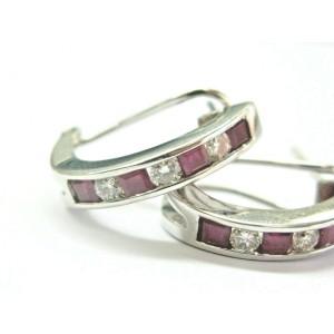 Ruby & Diamond Channel Set Huggie Earrings 14Kt White Gold .86Ct 19mm
