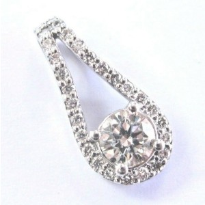 Fine Round Cut Diamond White Gold Pendant 14KT .72Ct