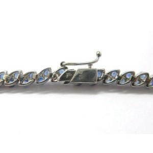 LeVian Blue Sapphire Diamond Tennis Bracelet 18KT White Gold 5.30CT