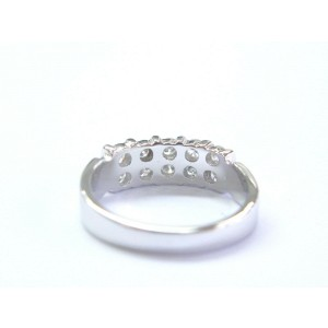 Natural Round Cut Diamond 2-Row White Gold 10-Stone Band Ring .50Ct SIZEABLE