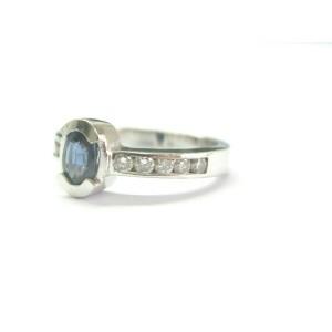 Natural Ceylon Sapphire & Diamond Bezel Set White Gold Ring .80Ct 14Kt