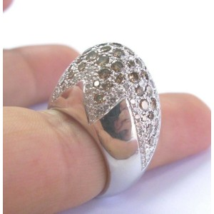18Kt Multi Color Diamond White Gold Tulip Cluster Jewelry Ring 5.26Ct
