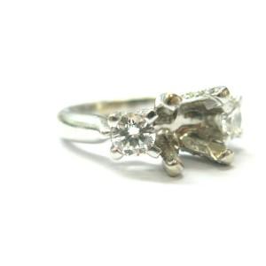Three Stone Diamond Semi Mount Ring 14Kt White Gold .80Ct ( center 5.8mm x 4.8mm