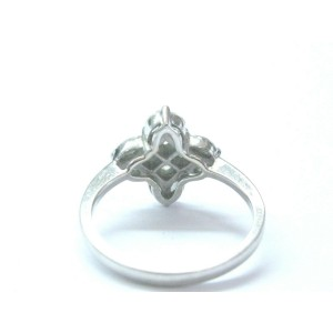 18Kt Marquise & Princess Cut Diamond Cluster White Gold Clover Ring .96Ct G-VS