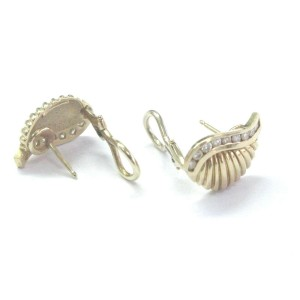 18Kt Diamond Yellow Gold Shell Earrings .50Ct 18.3mm