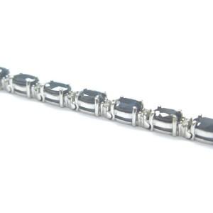 "Blue Sapphire & Diamond Tennis Bracelet Solid 14Kt White Gold 6.75"" 10.50CT"