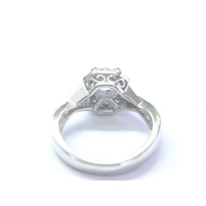 Cushion Cut NATURAL Diamond Solitaire With Accent Engagement Ring 1.57Ct 14kt