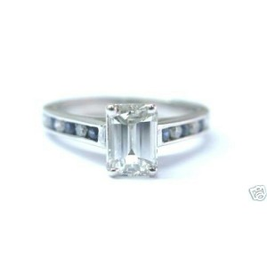 NATURAL Emerald Cut Diamond & Sapphire SOLID White Gold Engagement Ring 18KT EGL